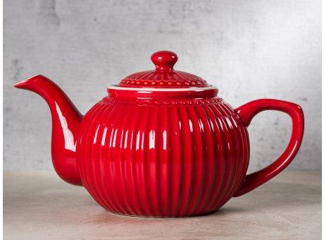 Greengate Teekanne ALICE Rot Kanne Everyday Keramik Geschirr Red 1 Liter Rillenmuster Hygge für jeden Tag