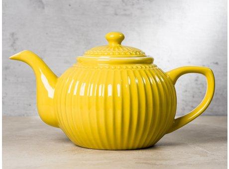 Greengate Teekanne ALICE Senf Gelb Kanne Everyday Keramik Geschirr Honey Mustard 1 Liter Rillenmuster Hygge für jeden Tag