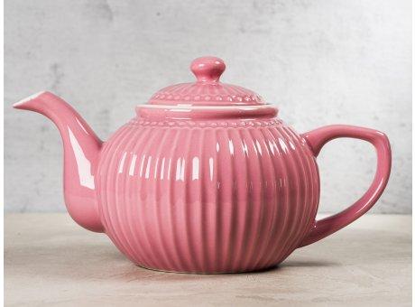 Greengate Teekanne ALICE Staubig Rosa Kanne Everyday Keramik Geschirr Dusty Rose 1 Liter Rillenmuster Hygge für jeden Tag