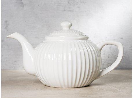 Greengate Teekanne ALICE Weiss Kanne Everyday Keramik Geschirr White 1 Liter Rillenmuster Hygge für jeden Tag
