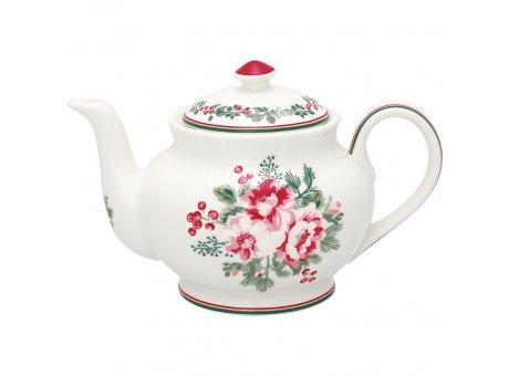 Greengate Teekanne CHARLINE Weiss Blumen Porzellan Kanne 1 Liter Greengate Nr STWTEPRCHN0102