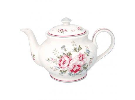 Greengate Teekanne ELOUISE Weiss Blumen Porzellan Kanne 1 Liter GG Produkt Nr STWTEPRELO0102