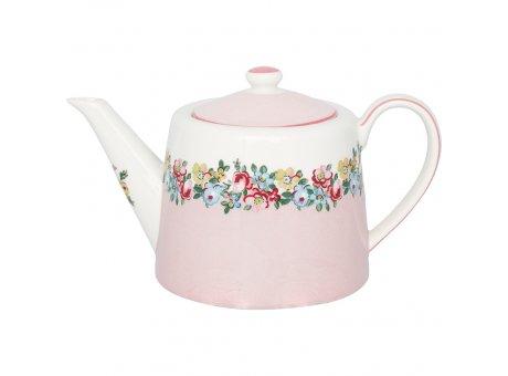 Greengate Teekanne MADISON Rosa Weiss Blumen Porzellan Kanne 1 Liter Greengate Nr STWTEPMDS0102