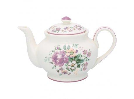 Greengate Teekanne MARIE Dusty Rose Rosa Weiss Blumen Porzellan Kanne 1 Liter Greengate Nr STWTEPRMAR1102