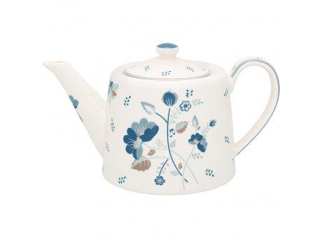 Greengate Teekanne MOZY Weiss Blau Blumen Porzellan Kanne 1 Liter Greengate Nr STWTEPMOZ0102