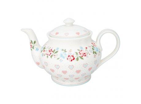 Greengate Teekanne SONIA Weiss Blumen Porzellan Kanne 1 Liter GG Produkt Nr STWTEPRSOI0102