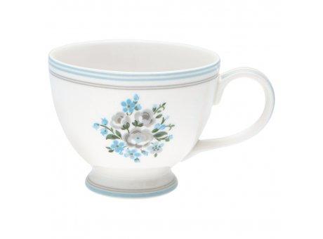 Greengate Teetasse NICOLINE Weiß aus Porzellan mit blauen Blumen 400ml Tasse mit Henkel Greengate Produkt Nr. STWTECNIC5806