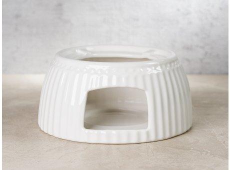 Greengate Teewärmer ALICE Weiss Stövchen für Teekanne Everyday Keramik Geschirr Warmer White Rillenmuster Hygge für jeden Tag
