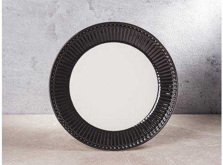 Greengate Teller ALICE Dunkelgrau Kuchenteller Everyday Keramik Geschirr Dark Grey 23 cm Rillenmuster Hygge für jeden Tag