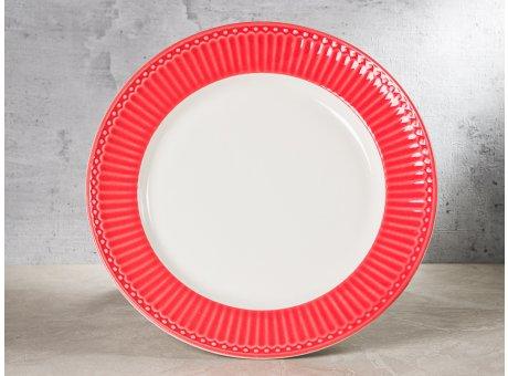 Greengate Teller ALICE Koralle Essteller Everyday Keramik Geschirr Dinner Plate Coral 26 cm Rillenmuster Hygge für jeden Tag