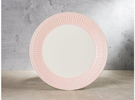 Greengate Teller ALICE Rosa Kuchenteller Everyday Keramik Geschirr Pale Pink 23 cm Rillenmuster Hygge für jeden Tag