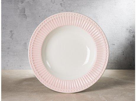 Greengate Teller ALICE Rosa Suppenteller Everyday Keramik Geschirr Deep Plate Pale Pink Rillenmuster Hygge für jeden Tag
