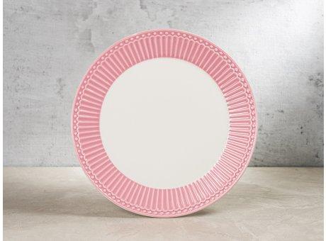 Greengate Teller ALICE Staubig Rosa Kuchenteller Everyday Keramik Geschirr Dusty Rose 23 cm Rillenmuster Hygge für jeden Tag