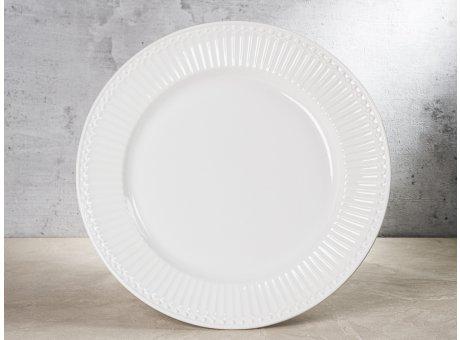 Greengate Teller ALICE Weiss Essteller Everyday Keramik Geschirr Dinner Plate White 26 cm Rillenmuster Hygge für jeden Tag