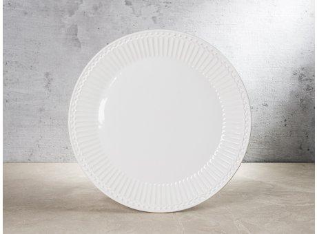 Greengate Teller ALICE Weiss Kuchenteller Everyday Keramik Geschirr White 23 cm Rillenmuster Hygge für jeden Tag