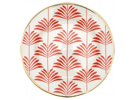 Greengate Teller MAXIME Coral Weiss Gate Noir Kuchenteller mit Goldrand  Porzellan 20cm Greengate Produkt Nummer STWPLAGNMAX1606