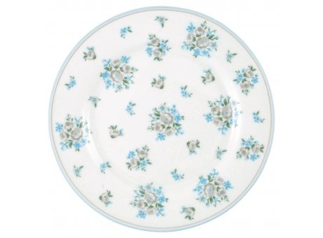 Greengate Teller NICOLINE Weiss Blau Kuchenteller aus Porzellan 20cm Greengate Produkt Nummer STWPLANIC5806
