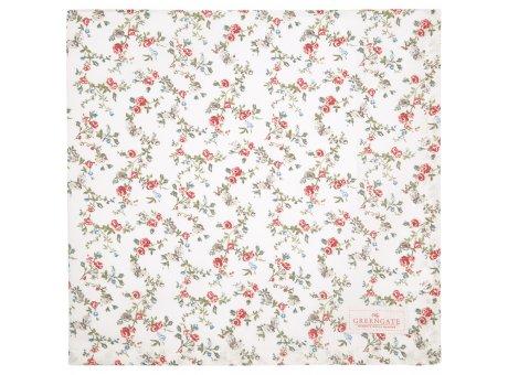 Greengate Tischdecke CARLY Weiss Blumen Baumwolle Tischtuch 150x150 cm Greengate Produkt Nr COTTAB150CLY0102