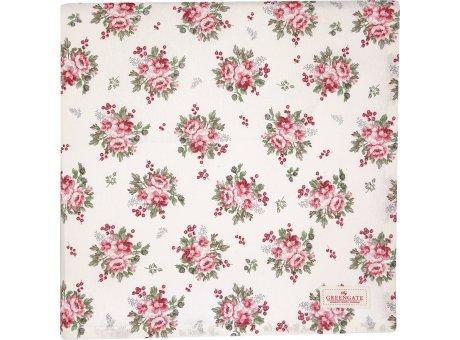 Greengate Tischdecke CHARLINE Weiss Blumen Muster Baumwolle 145x250 cm Greengate Tischtuch Nr COTTAB250CHN0102