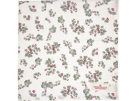 Greengate Tischdecke SCARLETT Weiss Beeren Muster Baumwolle 150x150 cm Greengate Tischtuch Nr COTTAB150SCT0102