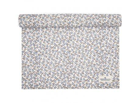 Greengate Tischläufer ADDISON Blau Weiß BLUMEN Baumwolle Greengate Tischdecke Nr COTTAR140ADD0104