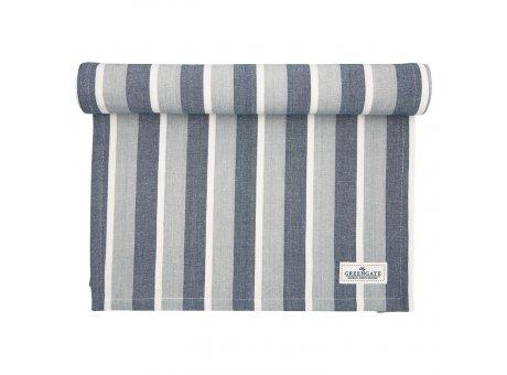 Greengate Tischläufer ALYSSA Blau Grau Gestreift Baumwolle Tischdecke 45x140 cm GG Produkt Nr COTTAR140ALY2504