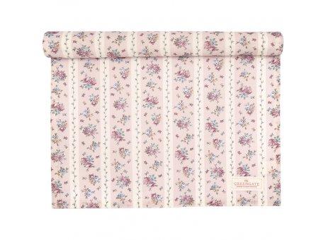 Greengate Tischläufer AVA Weiß Rosa Blumen Design Baumwolle Greengate Tischdecke Nr COTTAR140AVA0104