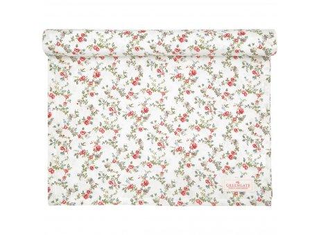 Greengate Tischläufer CARLY Weiss Blumen Baumwolle Tischdecke 45x140 cm Greengate Produkt Nr COTTAR140CLY0104