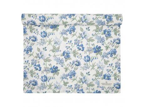 Greengate Tischläufer DONNA Blau Weiss Blumen Baumwolle Tischdecke 45x140 cm Greengate Produkt Nr COTTAR140DON2504