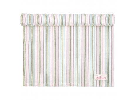 Greengate Tischläufer EDDA Weiss Streifen Rosa Blau Baumwolle Tischdecke 45x140 cm Greengate Produkt Nr COTTAR140EDD0104