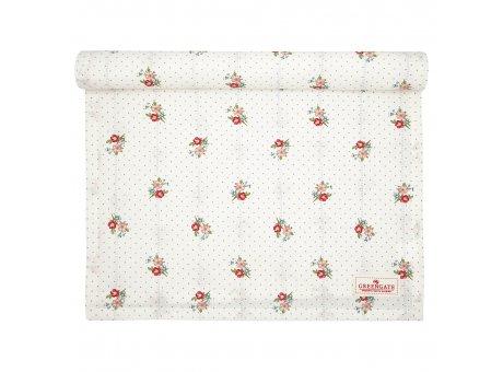 Greengate Tischläufer EJA Weiss Blumen und Punkte Baumwolle Tischdecke 45x140 cm Greengate Produkt Nr COTTAR140EJA0104