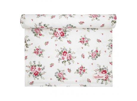 Greengate Tischläufer ELOUISE Weiss Rot Blumen Baumwolle Tischdecke 45x140 cm GG Produkt Nr COTTAR140ELO0104