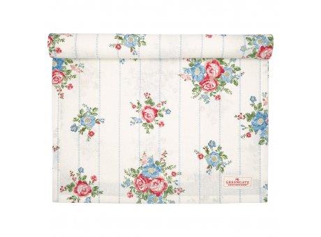 Greengate Tischläufer HENRIETTA Weiss Blumen Baumwolle Tischdecke 45x140 cm Greengate Produkt Nr COTTAR140HET0104