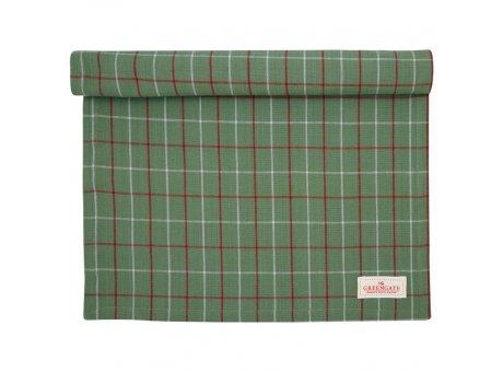 Greengate Tischläufer LYLA Karo Muster Grün Baumwolle Greengate Tischdecke Nr COTTAR140LYC3504