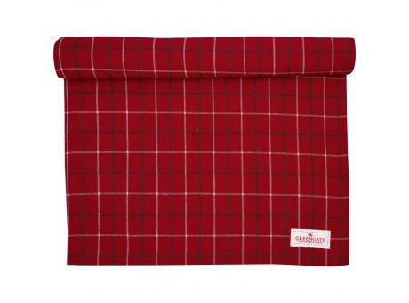 Greengate Tischläufer LYLA Karo Muster Rot Baumwolle Greengate Tischdecke Nr COTTAR140LYC1004