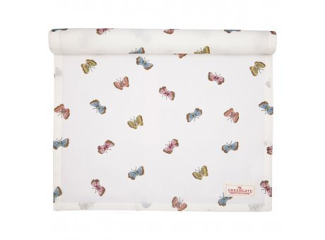 Greengate Tischläufer MAISIE Weiss Schmetterlinge Baumwolle Tischdecke 45x140 cm Greengate Produkt Nr COTTAR140MSI0104