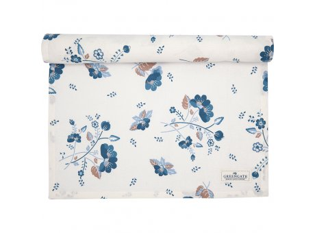 Greengate Tischläufer MOZY Blau Weiss Blumen Muster Baumwolle Greengate Tischdecke Nr COTTAR140MOZ0104