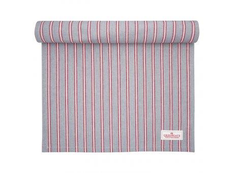 Greengate Tischläufer RILEY Grau Rot Gestreift Baumwolle Tischdecke 45x140 GG Produkt Nr COTTAR140RLY8504