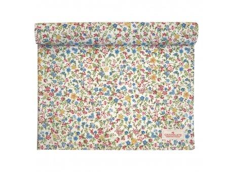 Greengate Tischläufer SOPHIA Weiss Blumen Baumwolle Tischdecke 45x140 cm Greengate Produkt Nr COTTAR140SOA0104