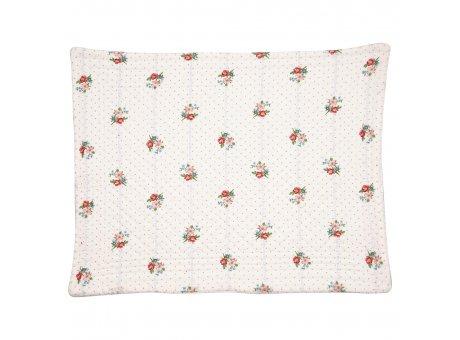 Greengate Tischset EJA Weiss mit Blumen und kleinen Punkten quilted Baumwolle 35x45 Greengate Platzset Nr QUIPLA35EJA0106