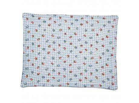 Greengate Tischset VIOLA Pale Blue Check mit Blumen Blau Weiss Karo quilted Baumwolle 35x45 Greengate Platzset Nr QUIPLA35VCH2906