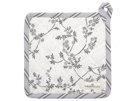 Greengate Topflappen AMIRA Weiss Grau mit Blumen 2er Set Baumwolle GG Produkt Nr COTPOTAMR0104