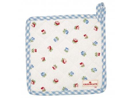 Greengate Topflappen VIOLA Weiss mit Blumen 2er Set Baumwolle Hellblau Karo Greengate Produkt Nr COTPOTVIO0104