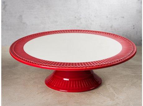 Greengate Tortenplatte ALICE Rot Everyday Keramik Geschirr Red Cake Plate Rillenmuster Hygge für jeden Tag
