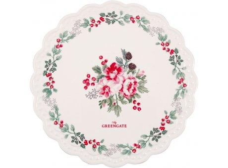 Greengate Untersetzer CHARLINE Weiß mit Blumen Porzellan Platte 20 cm Greengate Nr CERCSTRCHN0104