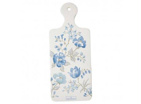 Greengate Untersetzer DONNA Weiß Blau Blumen Früstücksbrett Porzellan Schneidebrett 12x29cm Greengate Nr CERCSTDON2504