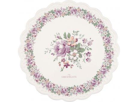 Greengate Untersetzer MARIE PEACH Weiß mit Blumen Porzellan Platte 20 cm Greengate Nr CERCSTRMAR1404