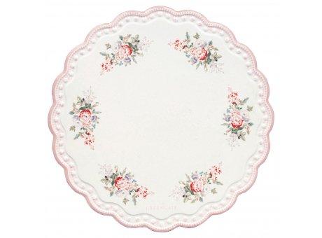 Greengate Untersetzer PETRICIA Weiß mit Rosa Rand und Blumen Porzellan Platte 20 cm Greengate Nr CERCSTRPET0104