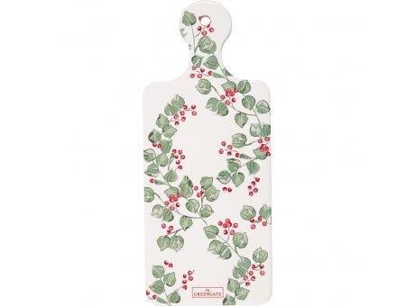 Greengate Untersetzer SCARLETT Weiß mit Beeren und Zweigen Früstücksbrett Porzellan Schneidebrett 12x29cm Greengate Nr CERCSTSCT0104