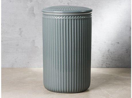 Greengate Vorratsdose Alice Dose mit Deckel Grau Gross 13x21 cm 3000 ml Geschirr aus Keramik Stone Grey Rillenmuster Hygge für jeden Tag